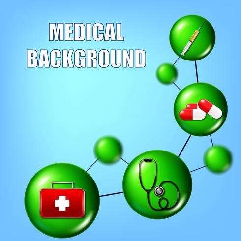 Ilustración médica con una jeringa, pastillas, botiquín de primeros auxilios y un stethocoque.
