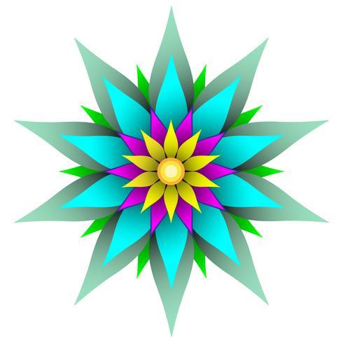 Vacker symmetrisk geometrisk blomma vektor illustration