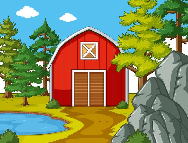 Scen med röd ladugård vid dammen vektor