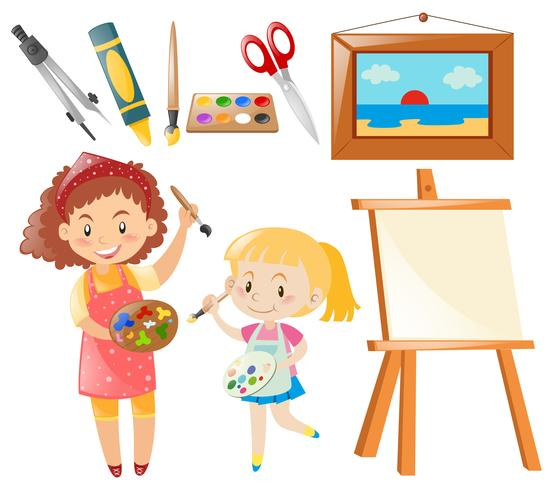 Set of people painting and art objects