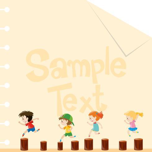 Papiersjabloon met kinderen op logboeken vector