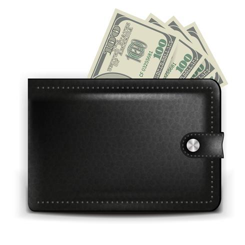 Un monedero negro realista con tarjeta de pago y monedas.