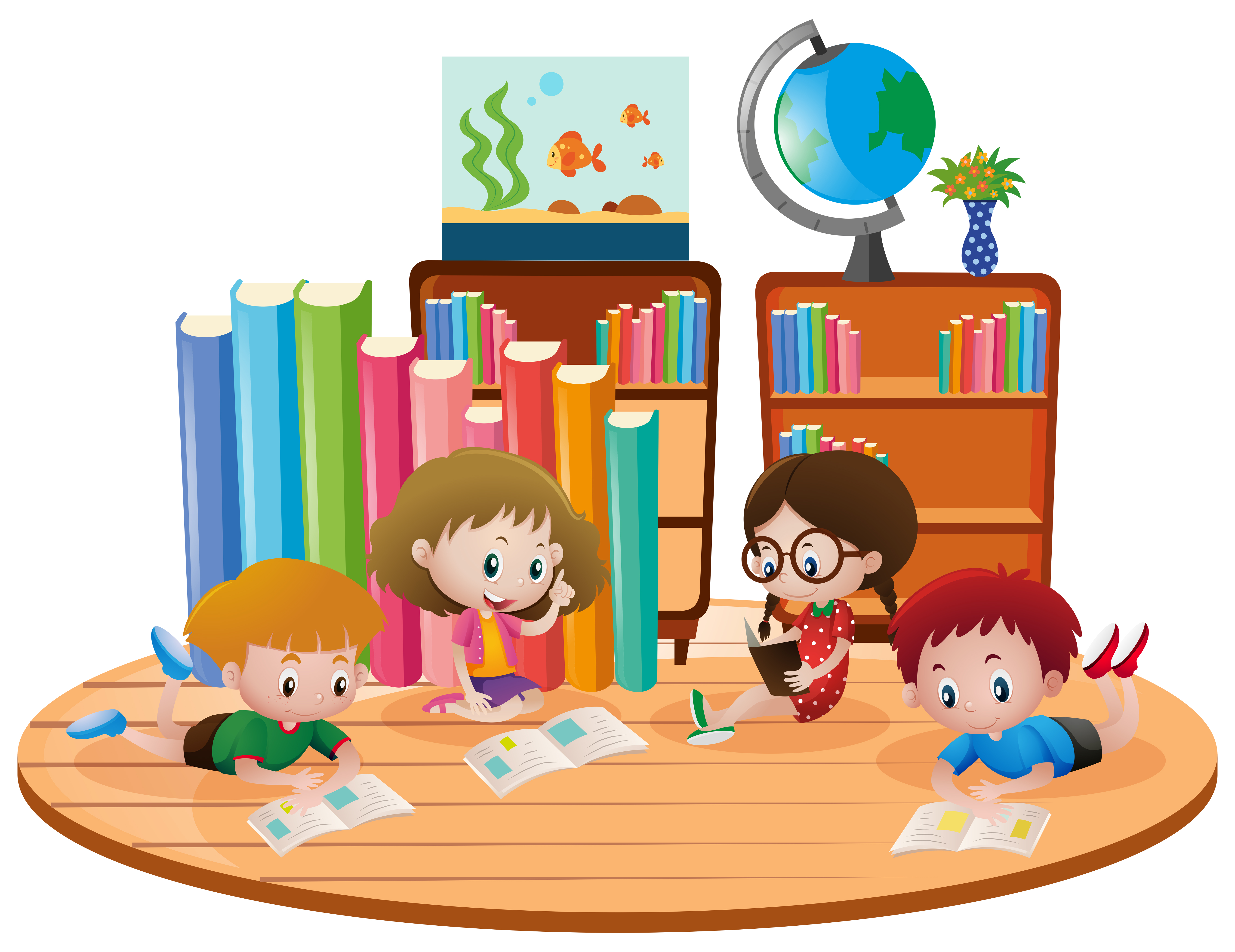 Four kids learning in classroom - Download Free Vectors ...
