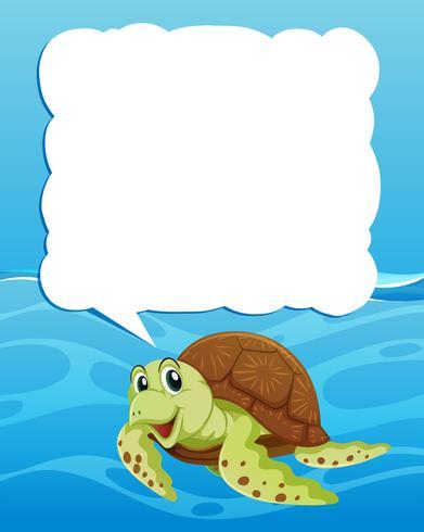 Modèle de frontière avec la tortue de mer nageant