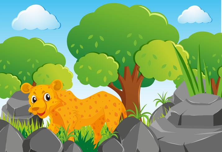 Cheetah i skogen vektor