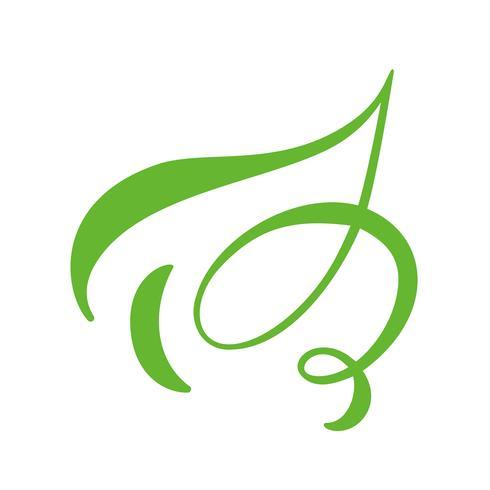 Logotipo da folha verde do chá. Ícone do vetor do elemento da natureza da ecologia limpo. Caligrafia bio bio vegano mão ilustrações desenhadas