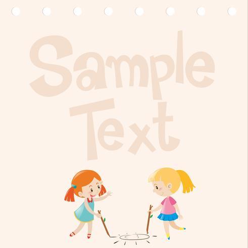 Papierdesign mit zwei Mädchen, die auf Boden zeichnen