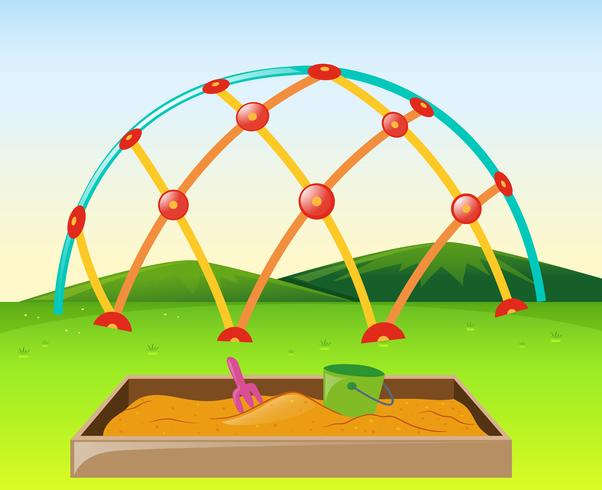 5ae0b09dc8a0 Climbing dome and sandpit in the park - Download Free Vector Art ...