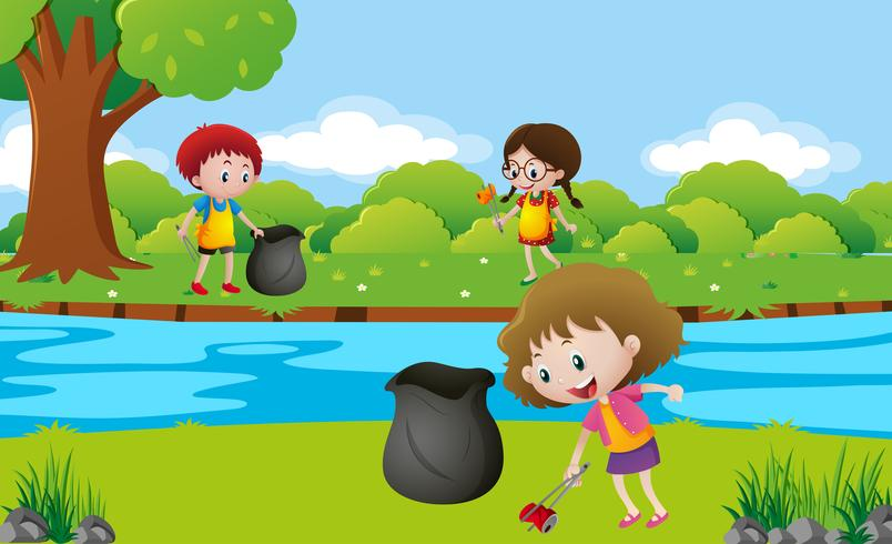I bambini ripuliscono il parco