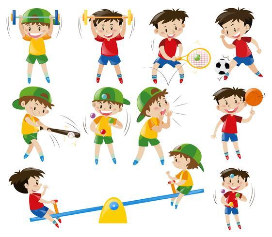 Pojkar gör olika sporter vektor