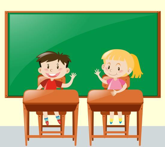 Två barn frågar fråga i klassrummet