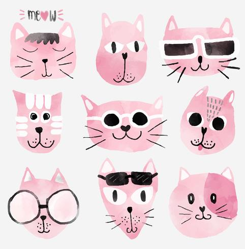pink watercolour funny cat faces set vector