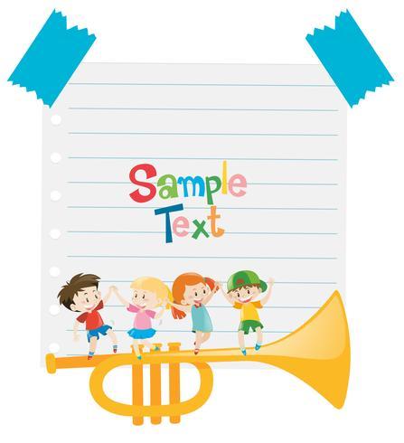 Plantilla de papel con niños y trompeta