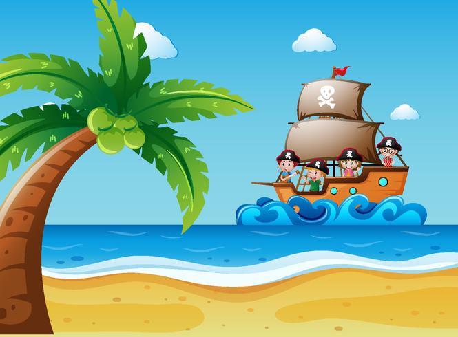 Scena con bambini sulla barca a vela vettore