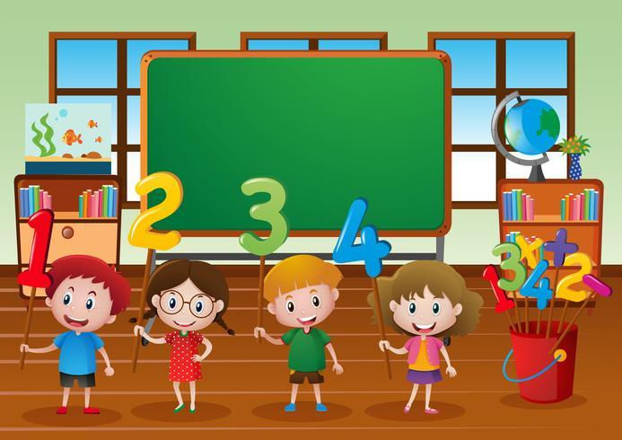Barn och olika nummer i klassrummet vektor