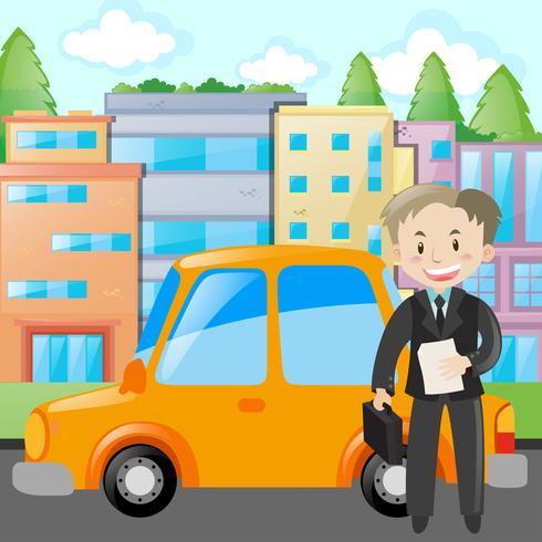 Affärsman står med gul bil vektor