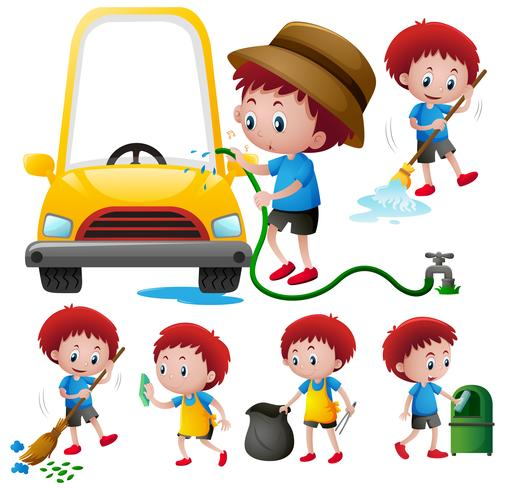Boy doing different types of chores vector