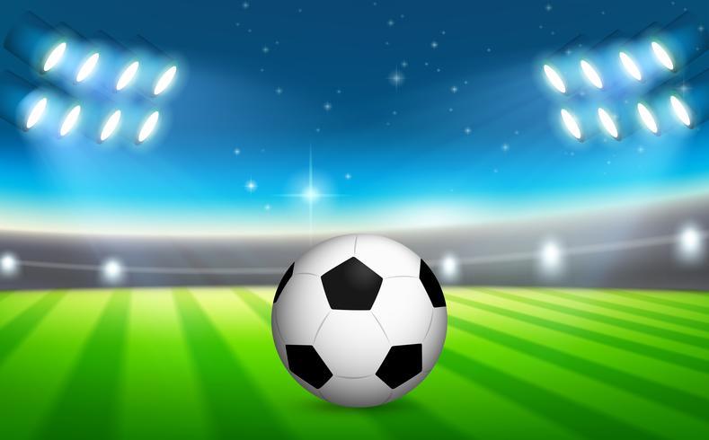 Un balón de fútbol en el campo. vector