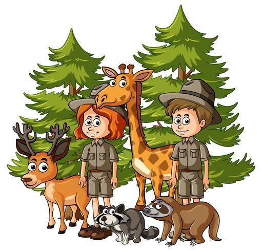 Zookeepers och många djur i skogen vektor