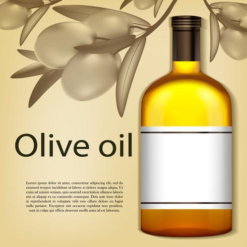 En realistisk flaska olivolja. Vektor illustration