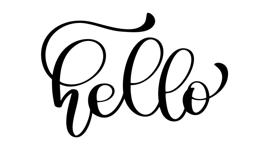 Hej citat meddelande. Kalligrafisk enkel logotyp vektor