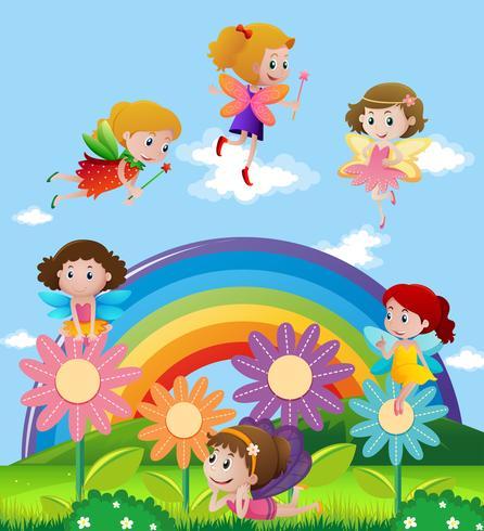Fairies som flyger över regnbågen vektor