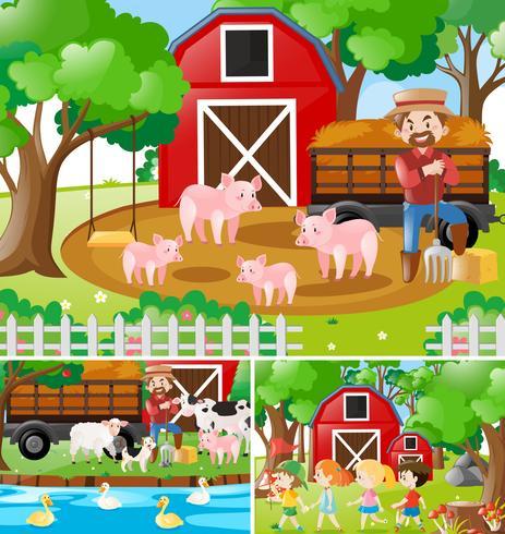 Tre scene di contadini che lavorano nella fattoria