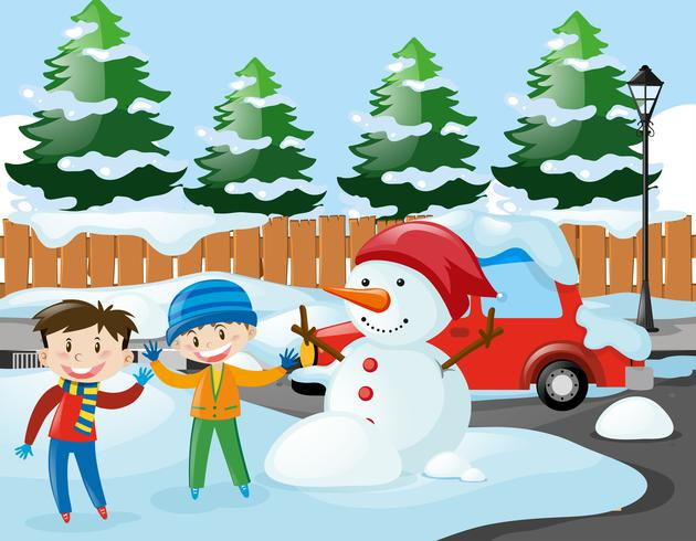 Two boys and snowman on the road vector