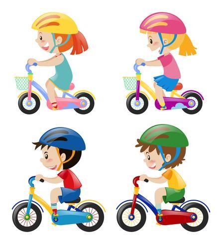 Vier Kinder, die Fahrrad auf weißen Hintergrund fahren