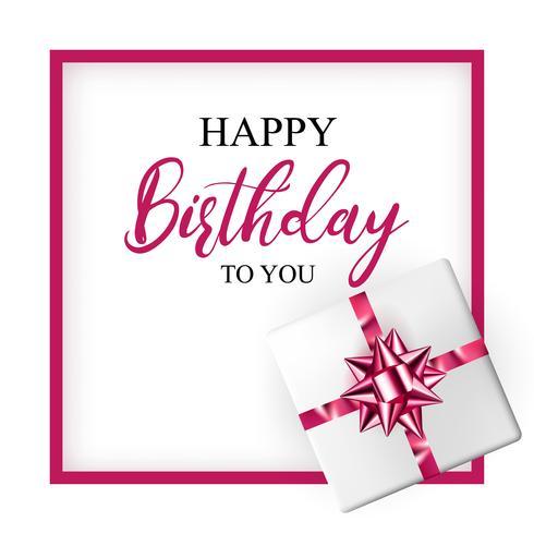 Födelsedag hälsningskort med realistisk presentförpackning och dekorativ båge vektor