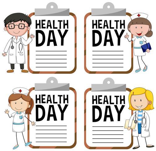 Gesundheitstaglogo mit Doktor und Krankenschwester