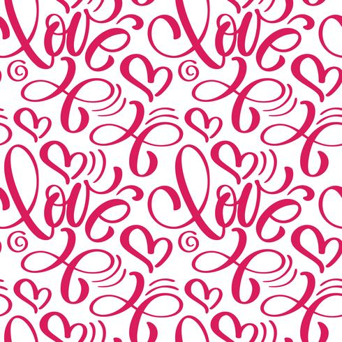 Seamless pattern with hand painted Valentine love and heart vector
