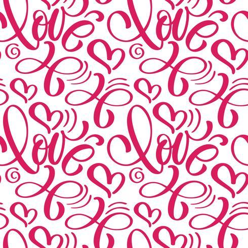 Naadloos patroon met de hand geschilderde liefde en het hart van Valentine