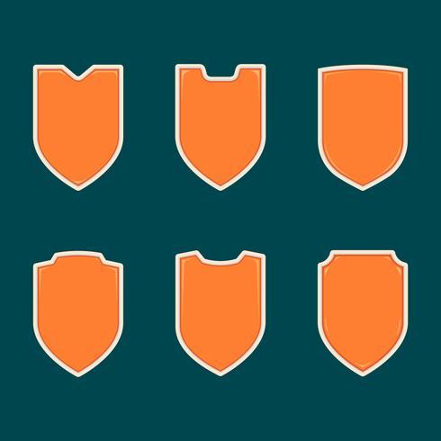 Em branco escudo laranja forma crachá modelo conjunto coleção