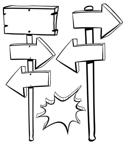Verschiedene Formen von Zeichen auf Stangen