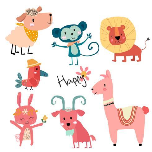 conjunto de caracteres de dibujos animados de animales salvajes dibujar a mano lindo
