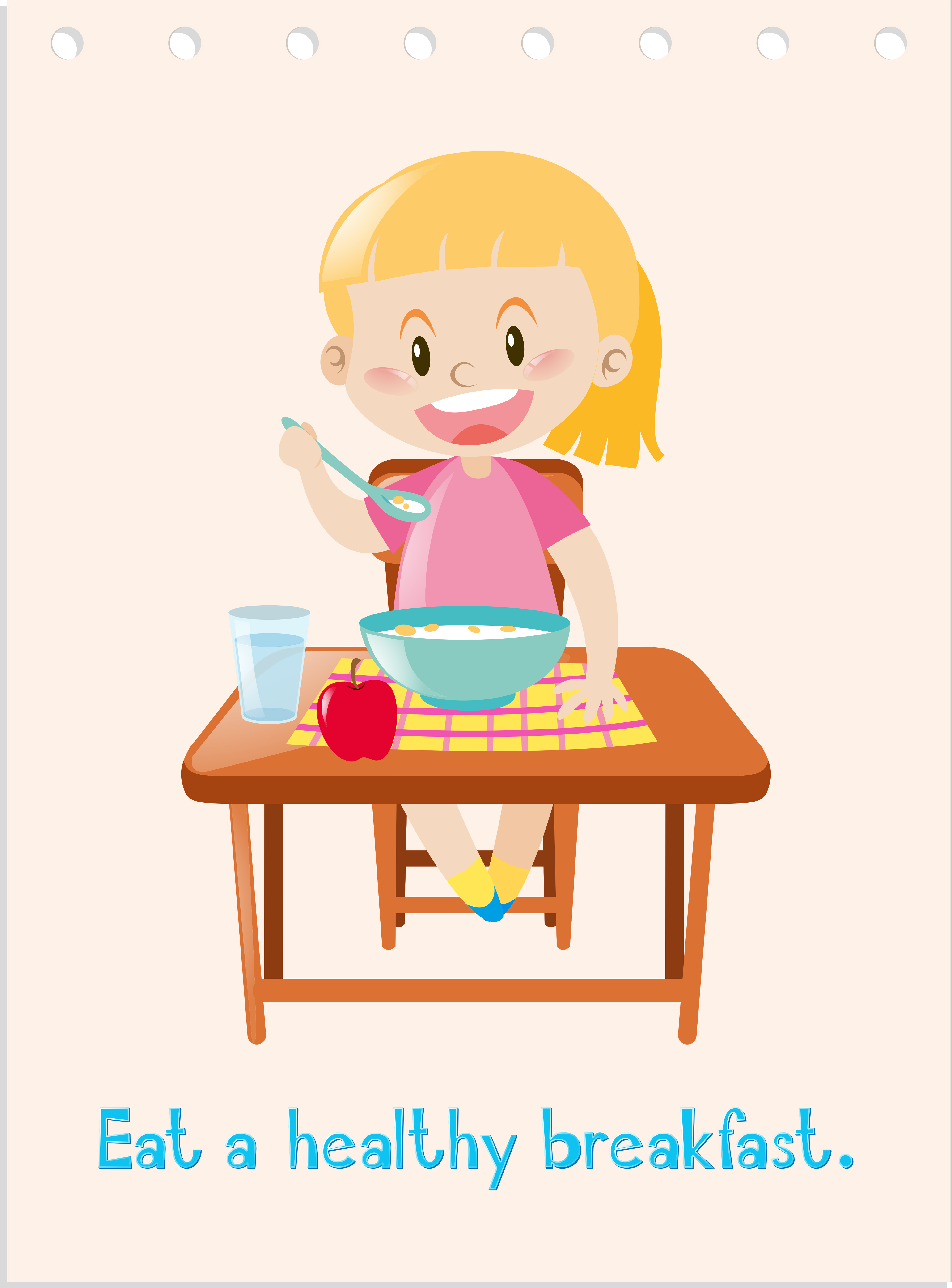 Wordcard with girl eating healthy breakfast - Download ...
