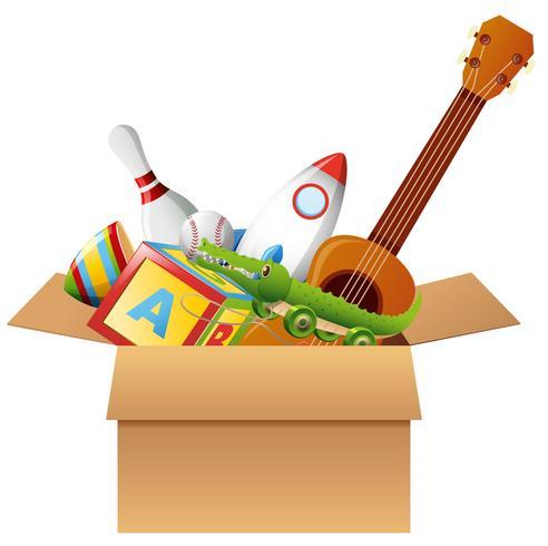 Caja de cartón con juguetes e instrumentos musicales. vector