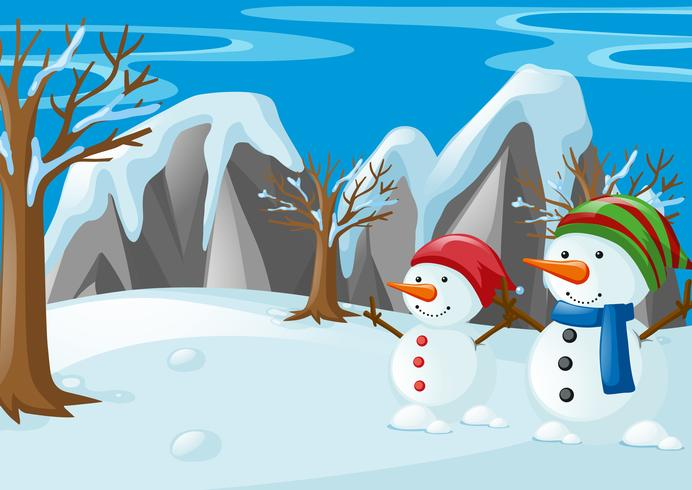 Two snowmen on the snow field vector