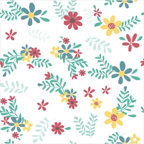 colourful spring flower pattern seamless vector