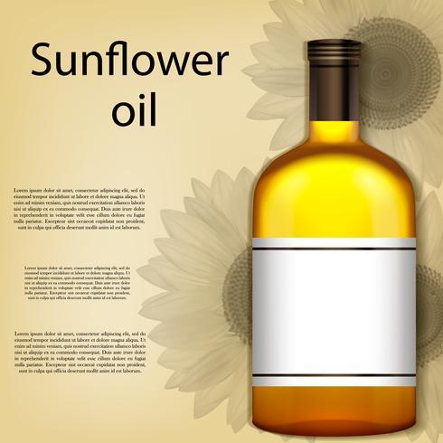Eine realistische Flasche Sonnenblumenöl. Vektor-Illustration