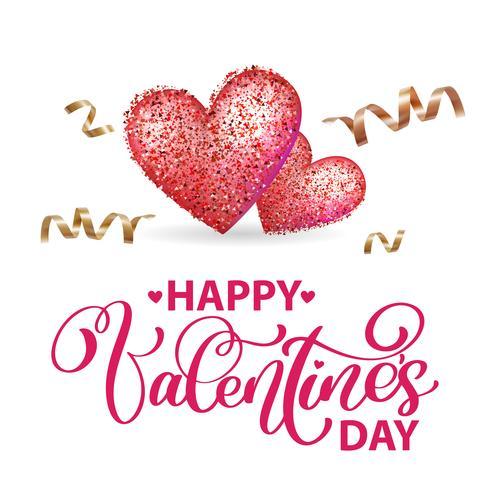 Lyckliga Alla hjärtans dag romantiska hälsningskort med hjärta och guld serpentine vektor