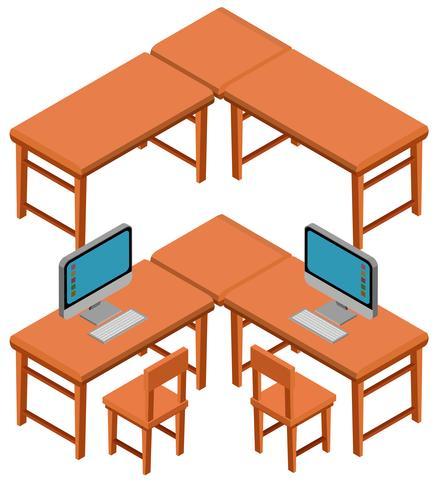 Design 3D para mesas e cadeiras