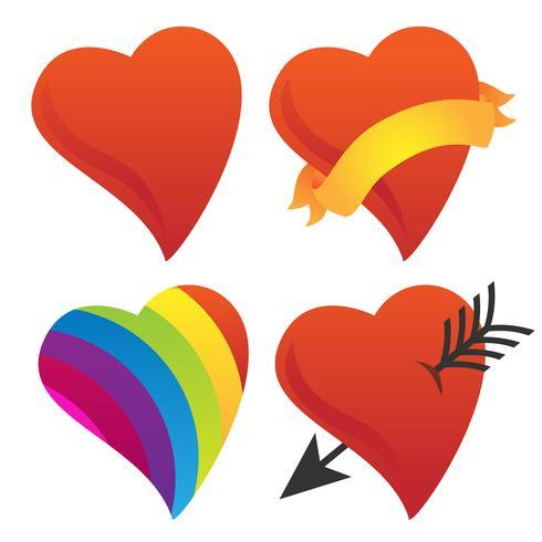 Gullig Sweetheart, Cupid Heart, Valentine Heart, Rainbow Heart Vector Group