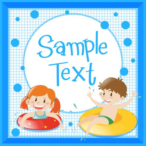 Frame template with kids in floating rings vector