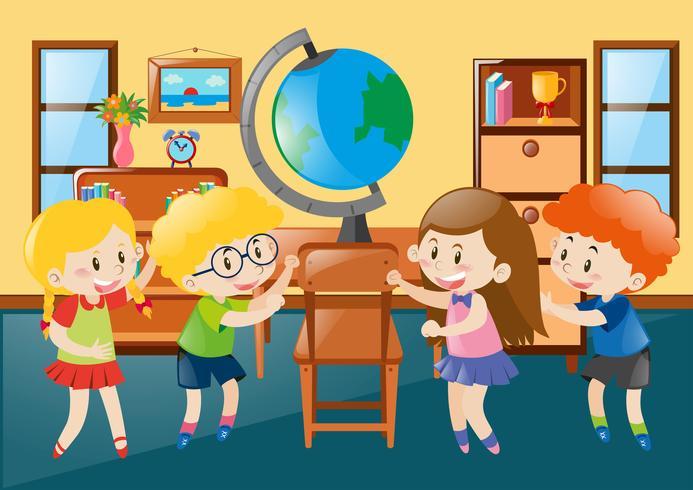 Niños en el aula de geografía.