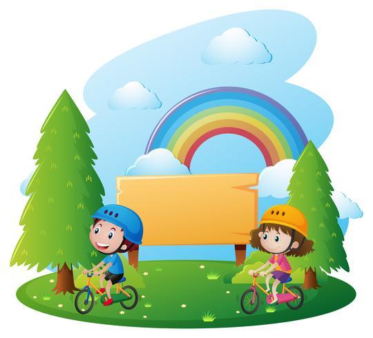 Modelo de sinal com duas crianças na bicicleta