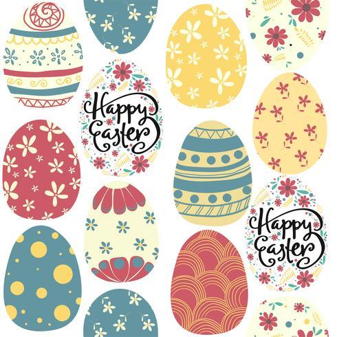 feliz día de Pascua lindo colorido huevos patrón transparente