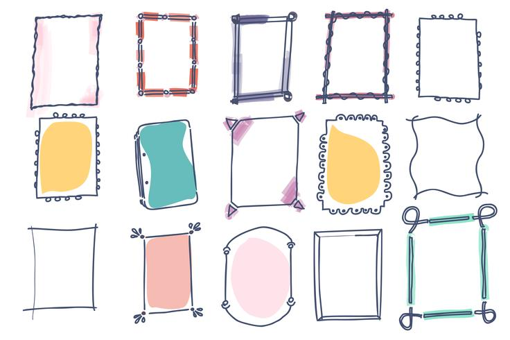 Conjunto de marcos de vector doodle sobre fondo blanco