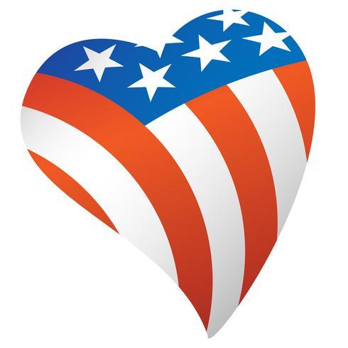 Patriotische amerikanische Flagge USA-Herz-Vektor-Illustration